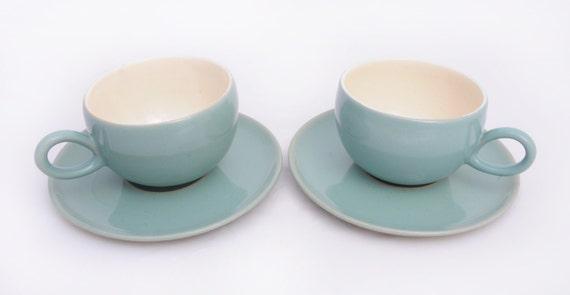Manor Green Denby Tea Cup & Saucer - set of 2