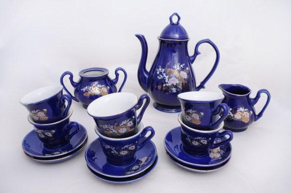 15 piece tea/coffee set - blue/gold peacock design.