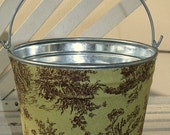 Fabric wrapped galvanized tin bucket 5.5 H X 7.5 D