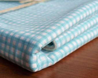 SALE save 20% Organic Baby Blanket in SKY GINGHAM; Blue Swaddling Blanket Gift by Organic Quilt Company
