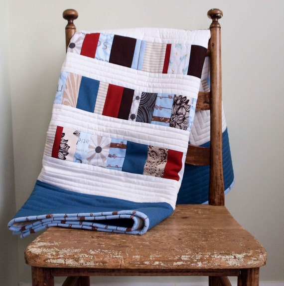 Reserved for Agnieszka, Seaside Organic  Baby Quilt (size upgrade)