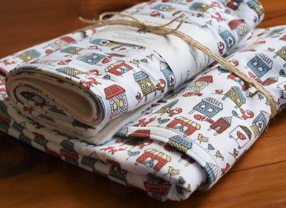 Organic Baby Blanket and Burp Cloths Set in FOX in the HENHOUSE