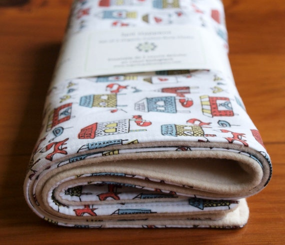 SALE save 20%; Organic Burp Cloth Set of Two in FOX in the HENHOUSE (Last Set); Chicken Burp Cloths Gift Set of 2 by Organic Quilt Company