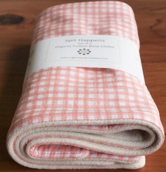 Organic Burp Cloths, Set of Two, SHELL GINGHAM
