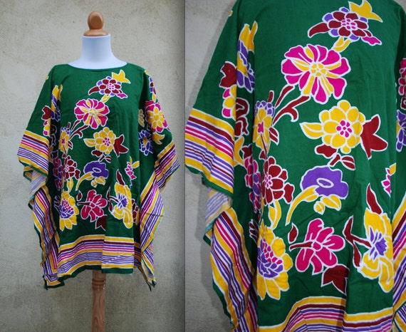 Vintage Floral Festival Caftan Dashiki Mini Tunic