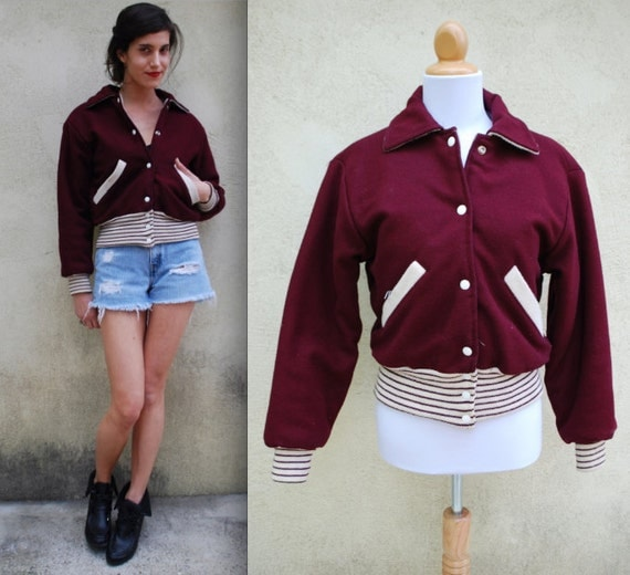 Vintage 60s 70s Maroon Burgundy and White Quilted Lining Varsity Letterman Jacket (size xs, small)