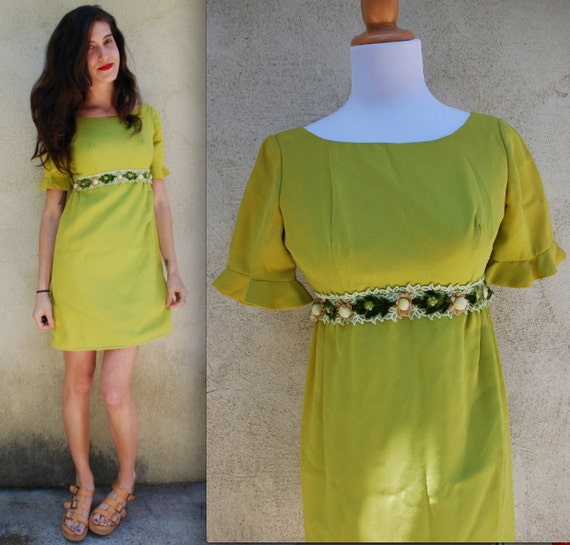 Vintage 60s Chartreuse Green Mini Babydoll Dress (size extra small, small)