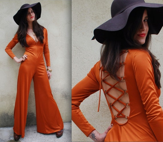 Vintage 70s Boogie Nights Orange Disco Open Back Flared Bell Bottom Palazzo Pants Jumpsuit