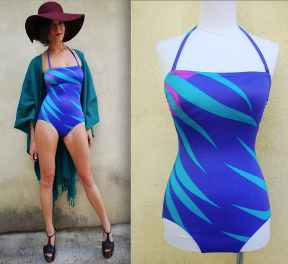 Vintage 80s Jantzen Abstract Palm Fronds Bathing Suit (size small)