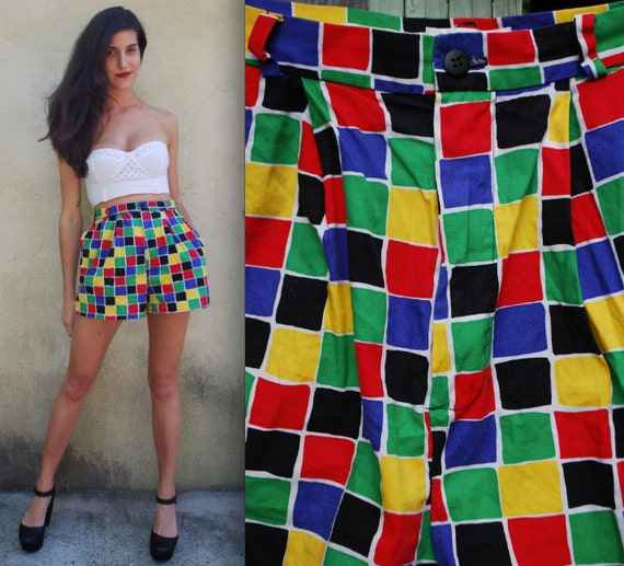 Vintage 80s 90s Rainbow Checkered High Waisted Cotton Tap Shorts (size small, medium)