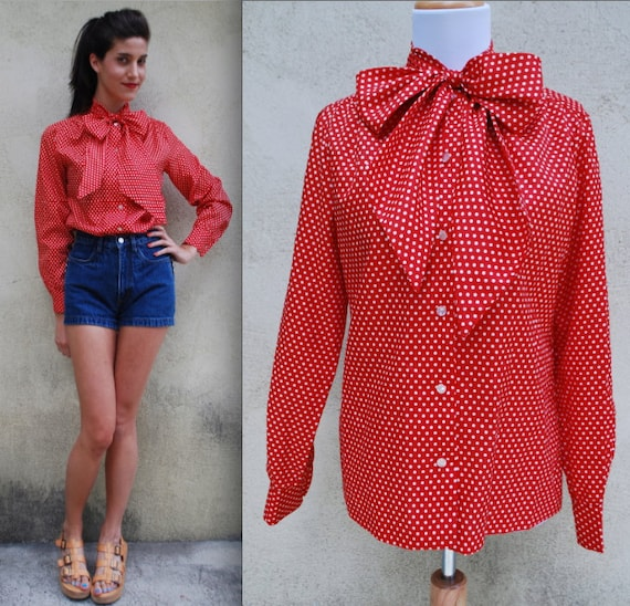 Vintage 60s 70s Red and White Polka Dot Pussy Bow Collar Secretary Blouse (size medium, large)