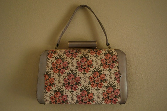 RESERVED for Robyn Vintage 40s 50s Floral Tapestry Purse