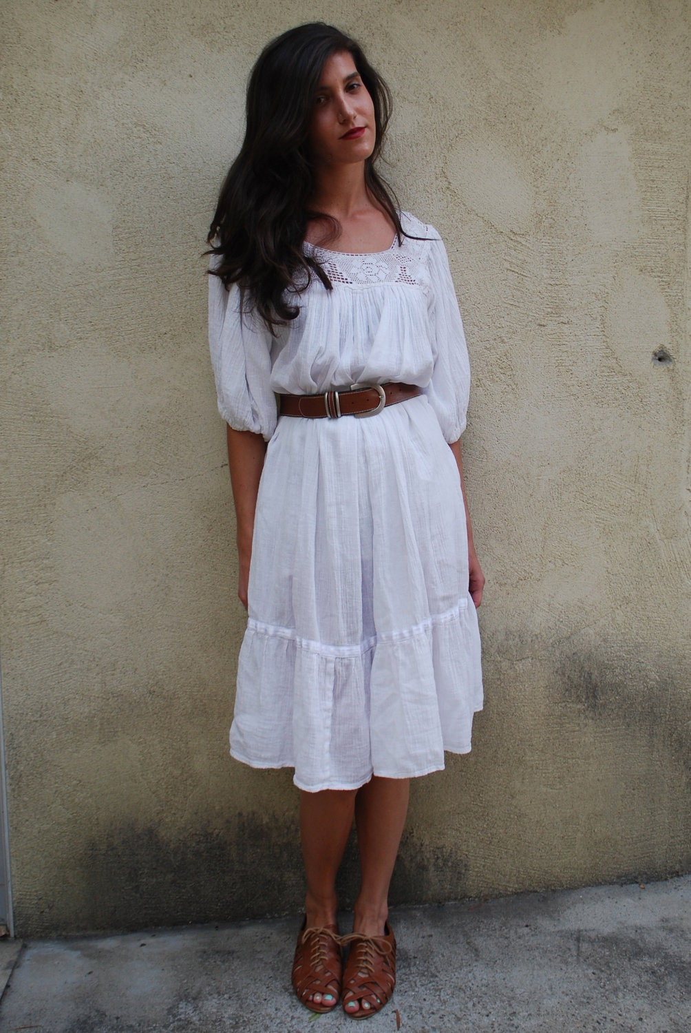 Vintage 70s White Gauze Crochet Tent Dress Size Small