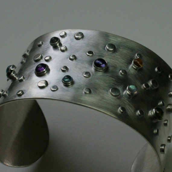 Galaxy Sterling Silver Cuff Bracelet set with multi colored gemstones - medium
