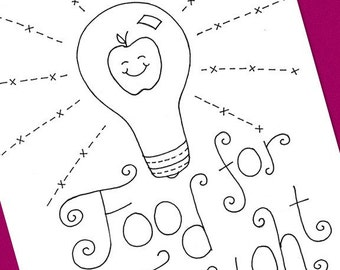 Lightbulb Food For Thought Embroidery Pattern