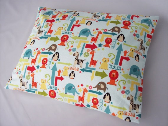 The Perfect Toddler Pillow ... Alphabet Soup on Blue by Riley Blake ... lions, giraffes, tigers, zebras ...Original Design by Sew Cinnamon