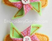 Pinwheel Felt Hair Clippie Machine Embroidery Design
