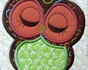 Cute Owl Appliques Machine Embroidery Files Instant Download