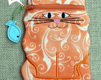 In the Hoop Cat Zipper Case Machine Embroidery Design File Instant Download