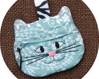 In the Hoop Cat Coin Pouch Machine Embroidery Design File Instant Download