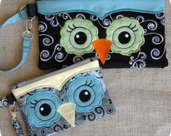 In the Hoop Owl Wristlet 6x10  Machine Embroidery Design File Instant Download