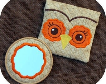 In the Hoop Owl Mirror Set Machine Embroidery Design Files Instant Download