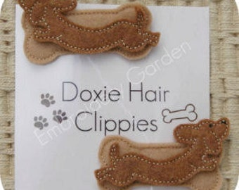 In the Hoop Dachshund Felt Hair Clippie Machine Embroidery Design Instant Download