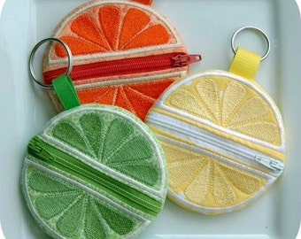 In the Hoop Citrus Coin Pouch Machine Embroidery Design File Instant Download