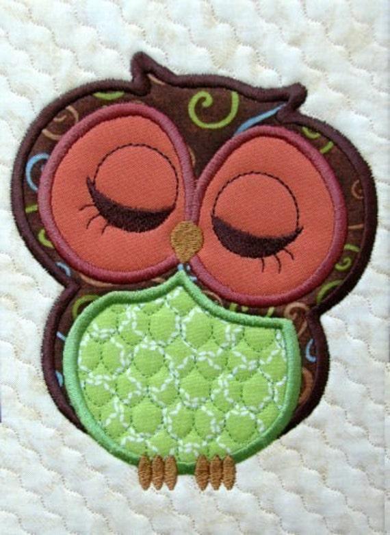 Cute Owl Appliques Machine Embroidery Design Files