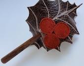 Holly Leaf Hair Stick Barrette - Eco Friendly Leather