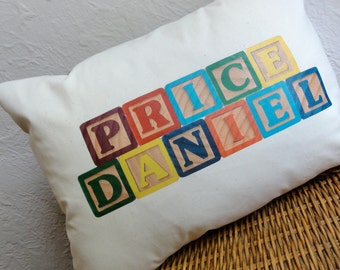 Block Baby Name Pillow
