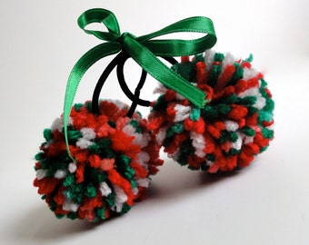 Pom Pom Ponytail Hair Holders - Red, Green and White Holiday
