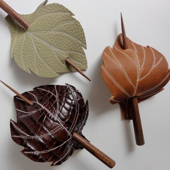 Leaf Hair Stick Barrette Eco Friendly Leather