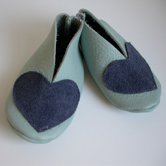 Blue Leather Baby Booties with Hearts