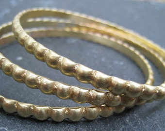 Brass Bangles with Beaded Wire, set of 3 Brass Bangles Bracelets Golden Bracelets - handmade to order in your size