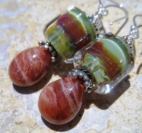 Painted Desert - Artisan Handmade Borosilicate Lampwork Glass and Sunstone Sterling Silver Earrings Gemstone Earrings Green Orange Dangle