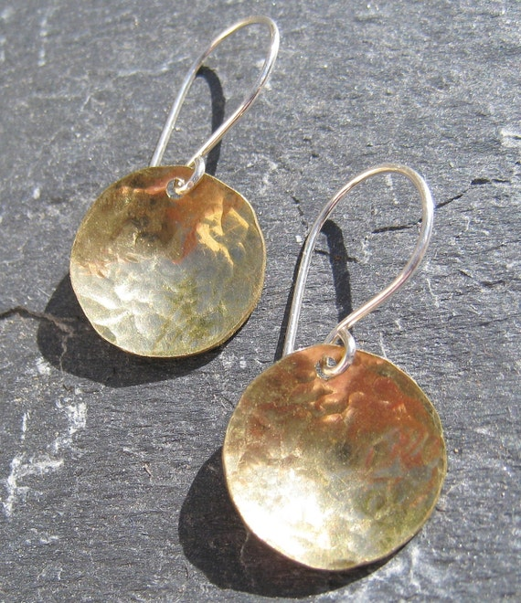 Artisan Handmade Brass and Sterling Silver Small Mixed Metal Earrings - very limited