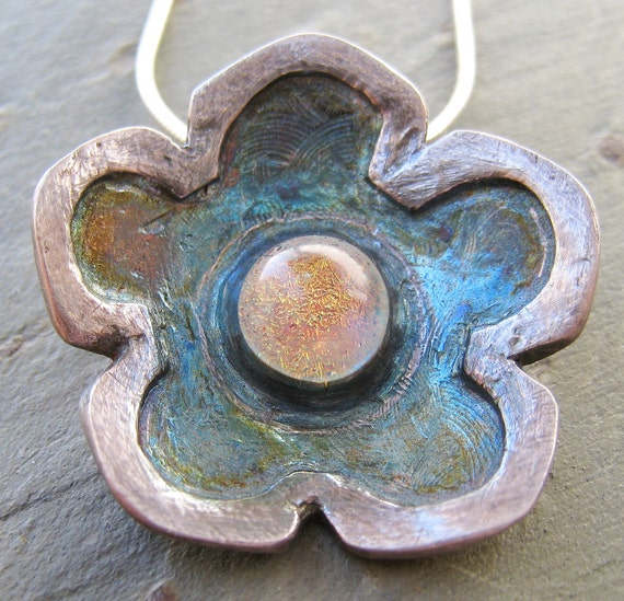 Artisan Handmade Fine Silver Precious Metal Clay and Dichroic Glass Flower Pendant Sterling Silver Necklace - one of a kind OOAK