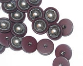Buttons -Vintage Burgundy and Silver Buttons