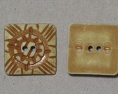 9 Square Hand Carved Tribal Buttons, Unique Buttons