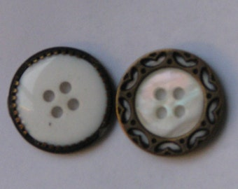 Buttons- Vintage Brass Heart & Mother of Pearl Look -Cyber Monday Etsy SALE