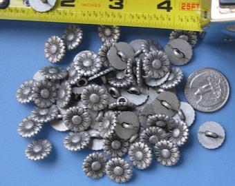 Vintage Metal Sunflower Buttons