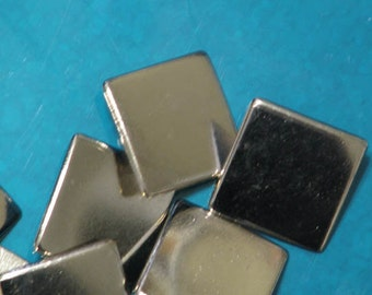 6 Square Silver Solid Metal Flat Buttons
