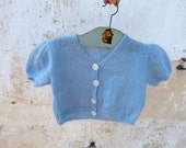 1950 Vintage handknitted soft blue baby cardigan sweater