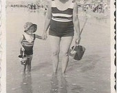 Antique 1930 French photography  seaside girls summertime bathsuit