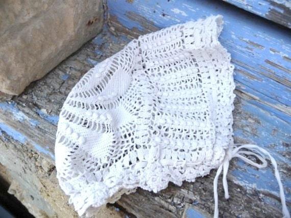 1900 Victorian handmade crochet baby bonnet