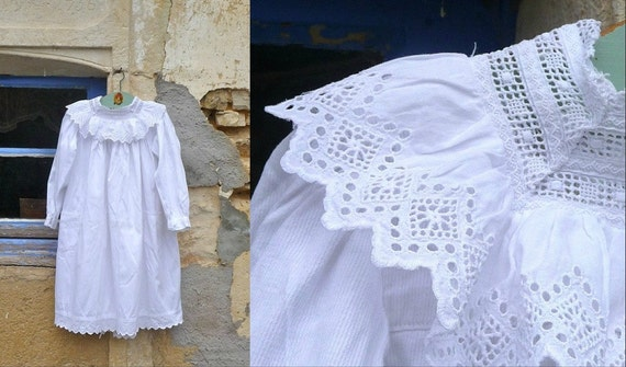 Antique 1900  Christening Gown  French cotton dress victorian girl dress embroidered