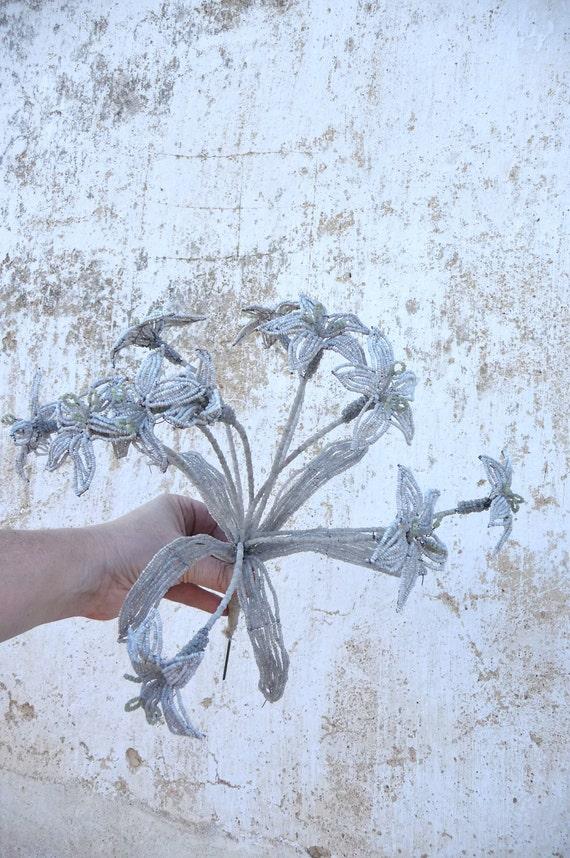 Antique 1900 French handmade beaded bouquet flowers beadwork glass beads seeds