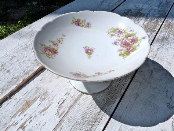 1900 French fruit dish pedestal floral violettes ceramic porcelaine compote dish