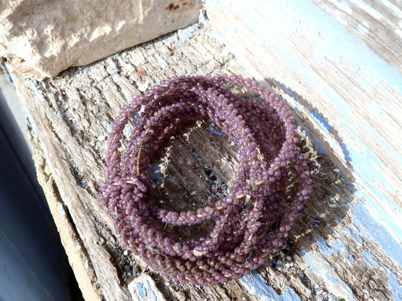 Antique beaded  yarn vintage French beadwork cable 157 inches
